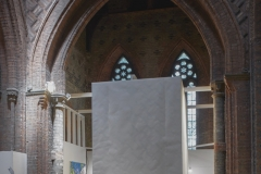 'Fortress', Installed at The Florence Trust, St Saviours Grade I Listed Church Acrylic on Arches paper, 4.2M x 2M x 5M 2018